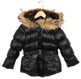 Lili Gaufrette Girls' Fur-Trimmed Puffer Coat