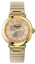 Salvatore Ferragamo Women's Symphonie FIN020015 Gold-Tone/Beige Watch