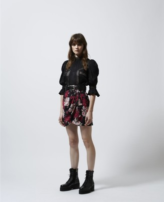The Kooples Loose black top in jacquard w/lace trims