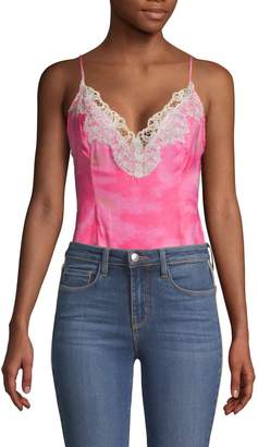 Free People Intimately Lace-Trimmed Tie-Dyed Bodysuit
