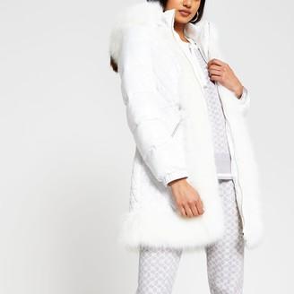 River Island Womens White long sleeve faux fur hem padded coat