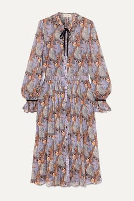 Temperley London Maggie Velvet-trimmed Printed Georgette Midi Dress - Burgundy
