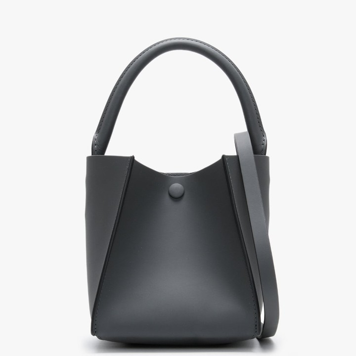 Sophie Hulme Nano Cube Charcoal Leather Shoulder Bag