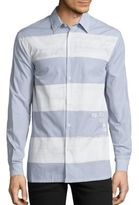 Diesel Black Gold Striped Cotton Shirt