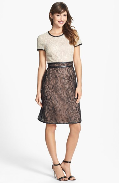 Mikael AGHAL Colorblock Lace Dress with Leather Trim
