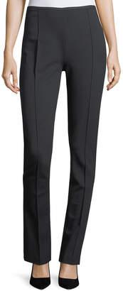 Emporio Armani High-Rise Straight-Leg Pintucked Jersey Pants
