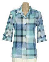 Allison daley plaid roll-tab crinkle camp shirt