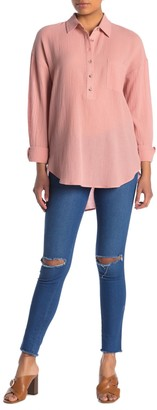 MelloDay Long Sleeve Gauze Tunic Shirt (Petite)