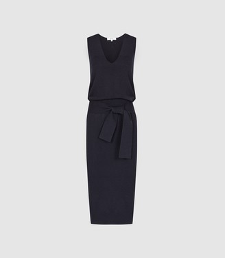 Reiss Amber - Knitted Tie Waist Midi Dress in Navy