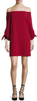 Tibi Cold-Shoulder Tie-Sleeve Crepe Mini Dress, Crimson Red