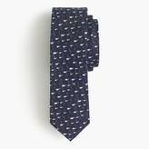 J.Crew English silk tie with embroidered fish