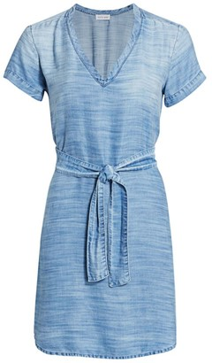 Bella Dahl V-Neck Tie Waist Mini Dress