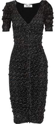 Diane von Furstenberg Romana Ruched Polka-dot Mesh Dress