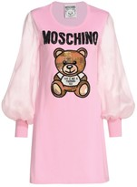 Moschino Sheer-Sleeve Teddy Bear Dress