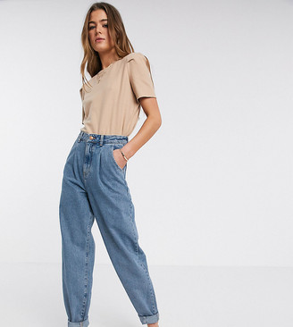 New Look Tall balloon leg jeans in mid blue