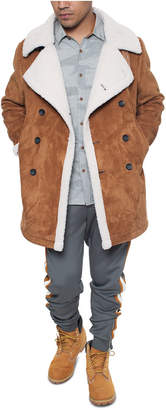 Sean John Men Faux Shearling Double Breasted Peacoat