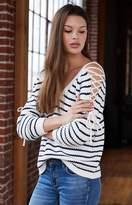 La Hearts Lace-Up Cold Shoulder Sweater
