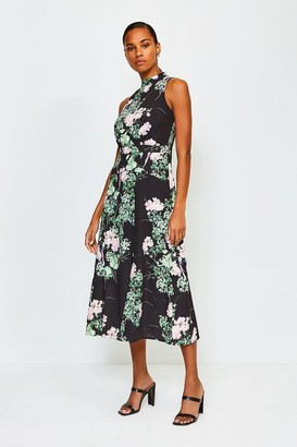 Karen Millen Floral Print Sleeveless Midi Dress
