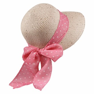 By Neki Womens Straw Sun Hat Foldable Adjustable Polka Dot Bow Hat Band Wide Brim Floppy Summer Beach Hat Bow Knot Sun Visor UK (Teal)