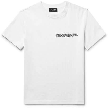Calvin Klein Embroidered Slub Cotton-Jersey T-Shirt