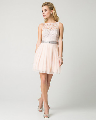 Le Château Lace & Mesh Illusion Party Dress
