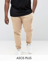 Asos Plus Skinny Joggers In Beige