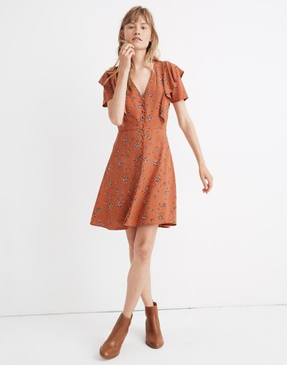 Madewell Flutter-Sleeve Button Dress in Ginger Floral