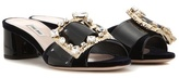 Miu Miu Embellished velvet and patent leather sandals