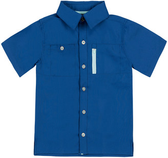 UV Skinz Boys' Button Down Shirts Washed - Washed Navy Short-Sleeve Button-Up - Toddler & Boys