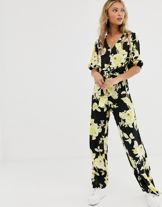 Miss Selfridge jumpsuit with knot front in floral print-Black