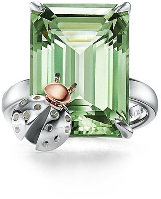 Tiffany & Co. Return to TiffanyTM Love Bugs green quartz ladybug ring in silver and rose gold