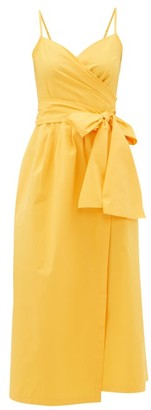 Three Graces London Martha Belted Cotton-poplin Wrap Dress - Yellow