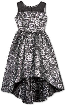 BCX Big Girls Floral Brocade High-Low Dress