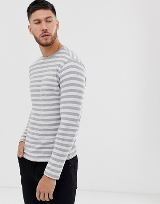 ONLY & SONS striped long sleeve t-shirt-Grey