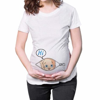 Zerototens Pregnancy Clothes Zerototens Maternity Funny T Shirts Pregnancy Novelty Tee Tops Short Sleeve Cartoon Baby Letter Print Side Ruched Nursing Shirt Crewneck Tunic Tops