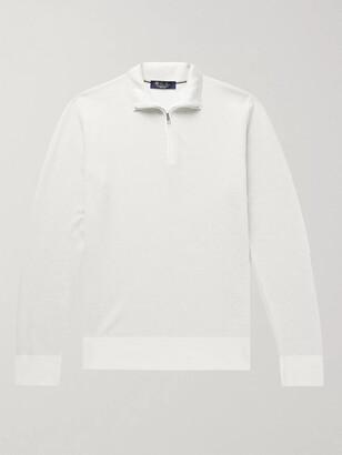 Loro Piana Roadster Slim-Fit Striped Cashmere Half-Zip Sweater - Men - White
