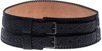 Roberto Cavalli Black Leather Waist Belt Size 85cm