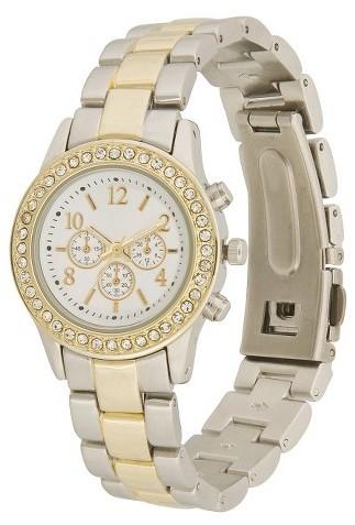 Merona Women's Two-Tone Chronograph Boyfriend Watch - Silver/Gold