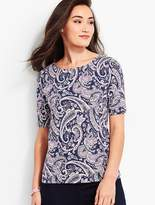 Talbots Village Scallop-Neck Tee - Paisley