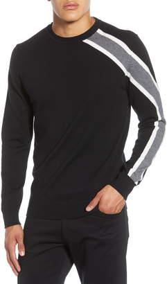 Karl Lagerfeld Paris Rugby Shoulder Stripe Crewneck Sweater