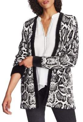 1 STATE 1.State Snakeskin-Print Open-Front Cardigan