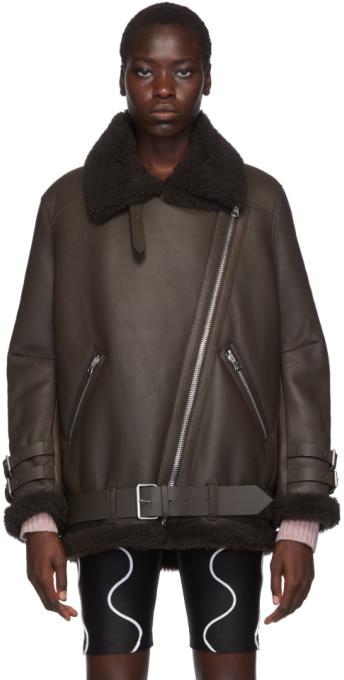 Acne Studios SSENSE Exclusive Brown Velocite Suede Shearling Jacket