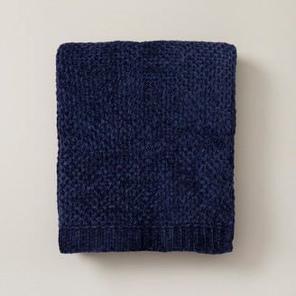 Oui Honeycomb Chenille Throw Navy