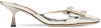 Sergio Rossi 60mm Metallic Patent Leather Mules