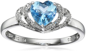 Amazon Collection Sterling Silver Swiss-Blue-Topaz and Diamond Accent Open Halo Heart Ring Size 7
