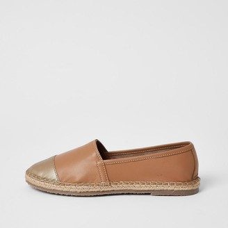 River Island Ravel brown leather espadrille sandals