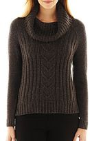 JCPenney a.n.a Cowlneck Cable-Knit Sweater