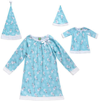 Dollie & Me Girls' Winter Hats BLUE - Blue Snowman Pajama & Doll Outfit Set - Toddler & Girls