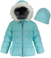 Weathertamer Hooded Puffer Coat With Faux-Fur Trim & Hat, Big Girls (7-16)