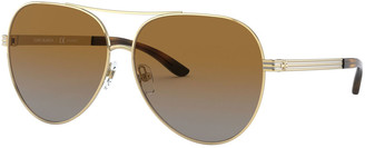 Tory Burch Metal Polarized Aviator Sunglasses w/ Striped Arms